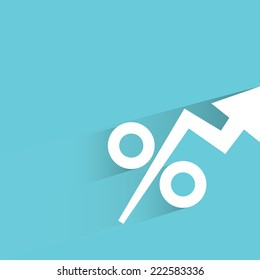 percentages growing up in blue background, flat and shadow design