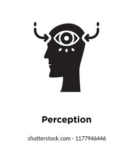 Perception icon vector isolated on white background, logo concept of Perception sign on transparent background, filled black symbol