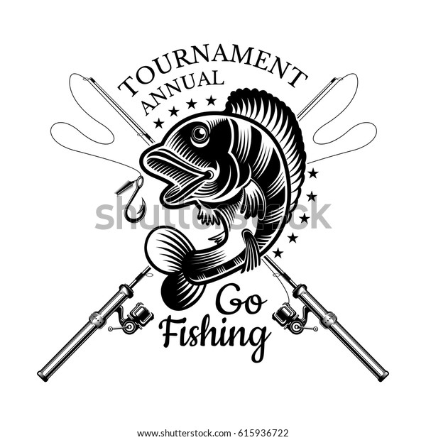 Perch Fish Bend Crossed Fishing Rod Stock Vector Royalty Free 615936722