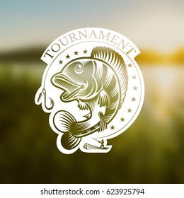 Perch fish and fisherman with fishing rod in engraving style. Logo for fishing, championship and sport club on blurred landscape photo