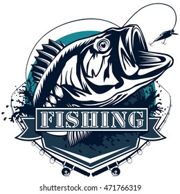 Perch fish and fishing rod logo. Bass fish vector illustration can be used for creating logos and emblems for fishing clubs, prints, web and other crafts.