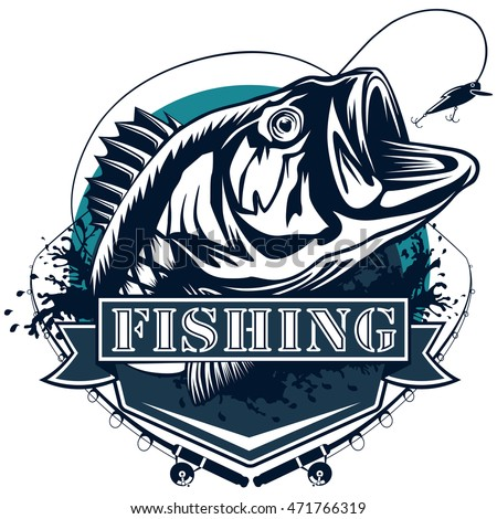 Perch Fish Fishing Rod Logo Bass Stock Vector Royalty