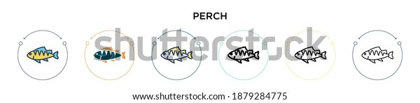 Perch icon in filled, thin line, outline and stroke style. Vector illustration of two colored and black perch vector icons designs can be used for mobile, ui, web
