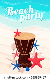 Percussion drum with seashells and starfishes. Bright turquoise sea, white sand background. Retro vector illustration. Beach party, ethnic music or open air festival concept. Poster, invitation, card