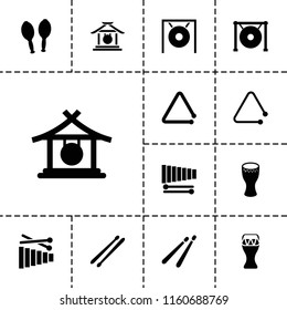Percussion icon. collection of 13 percussion filled icons such as gong, drum, xylophone, triangle musical instrument, drum stick. editable percussion icons for web and mobile.