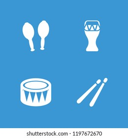Percussion icon. collection of 4 percussion filled icons such as drum stick, drum. editable percussion icons for web and mobile.