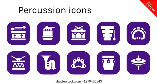 percussion icon set. 10 filled percussion icons. Simple modern icons about  - Drum, Xylophone, Tambourine, Trombone, Conga, Cymbals