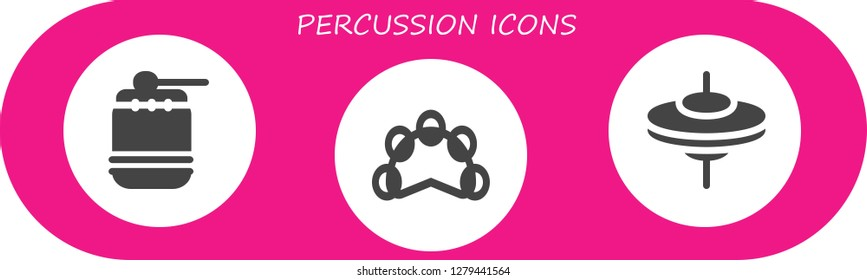 percussion icon set. 3 filled percussion icons. Simple modern icons about  - Drum, Tambourine, Cymbals