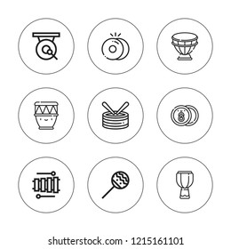 Percussion icon set. collection of 9 outline percussion icons with cymbals, drum, gong, maracas, kettledrum icons. editable icons.