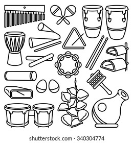 Percussion Instruments. Vector drawing of a set of Latin Music Percussion Instruments. Black lines on white background. Neat work, easily editable.