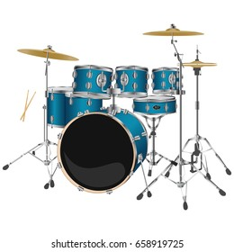 Percussion musical instrument. Blue drums, stick and cymbal./Realistic metallic drum kit vector.
