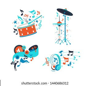 Percussion musical instruments flat illustrations set. Drum cymbals and classical snare flat drawing. Modern headphones isolated clipart. Play, stop music playing app icons. Jazz musician silhouette