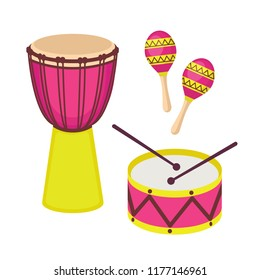 Percussion musical instruments vector set. Djembe drum, drum with sticks and maracas isolated on white background. Cute icon flat cartoon style. Vector illustration