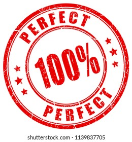 Perfect 100 vector stamp on white background