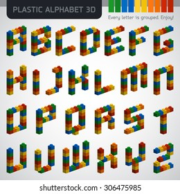 Perfect 3D alphabet from the multicolor plastic constructor. Modern design.