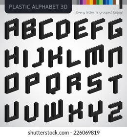 Perfect 3D alphabet from the plastic constructor. Modern design.