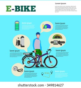 Perfect background for shop electric bikes or banner with an electric bike. infographics.Web Page Sport Banner Template Place for your text.