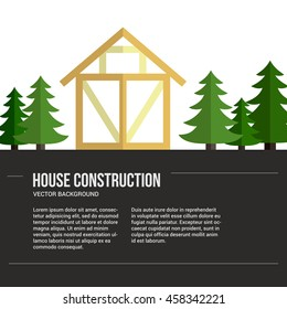 Perfect background for timber industry flyer or banner with frame house. Modern design element for flyer template, advertisement or commercial add.