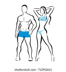 perfect body of man and woman silhouette, fitness and beauty concept