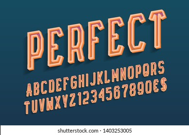 Perfect decorative letters with numbers and currency signs. 3d hollow orange font. Isolated english alphabet.