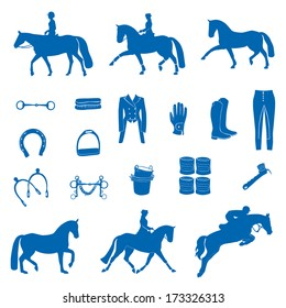 Perfect equine icon set drawn in vector.
