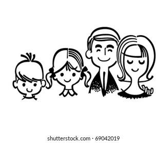 Perfect Family - Retro Clipart Illustration