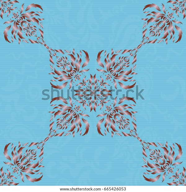 Perfect for holidays. Stylized ornament. Vector glitter textured seamless pattern with blue and brown elements.