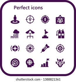 perfect icon set. 16 filled perfect icons.  Simple modern icons about  - Target, Picture frames, Goal, Terrace, Oxigen, Dart, Hannya
