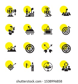 perfect icons. Editable 16 perfect icons. Included icons such as Targeting, Target, Darts, Dart, Goal, Dartboard, Frame, Cherries. perfect trendy icons for web.