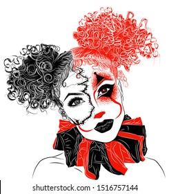 Perfect makeup look for halloween party. Scary clown. Woman's eyes, eyelashes and eyebrows. Tattoo design. Best reclame for makeup, brow or lash artists before holiday and in other cases. Trash polka.