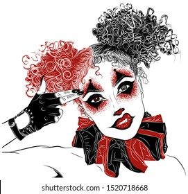 Perfect makeup look for halloween party. Scary clown. Woman's eyes, eyelashes and eyebrows. Tattoo design. Best reclame for makeup, brow or lash artists before holiday and in other cases.