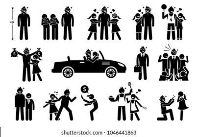 The Perfect Man, Boyfriend, and Husband. Stick figure depicts a tall, handsome, rich, successful, macho, and romantic man that is loved by woman, girlfriend, and wife.