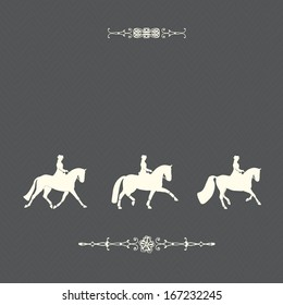 Perfect modern graphical card design with horses, riders and elegant borders. Beautiful equestrian template.