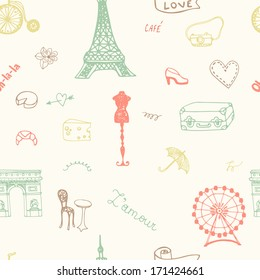 Perfect Paris seamless pattern with all symbols of a capital of France. French style texture.
