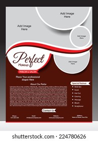 perfect parlor flyer template vector illustration