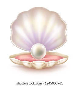 Perfect pearl lying on soft tissue of shelled mollusk realistic vector illustration isolated on white background. Rare natural jewel on velvet pillow in decorative case. Precious sea treasure concept