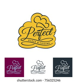 Perfect place & cuisine, restaurant or cafe emblem, vector logo illustration.
