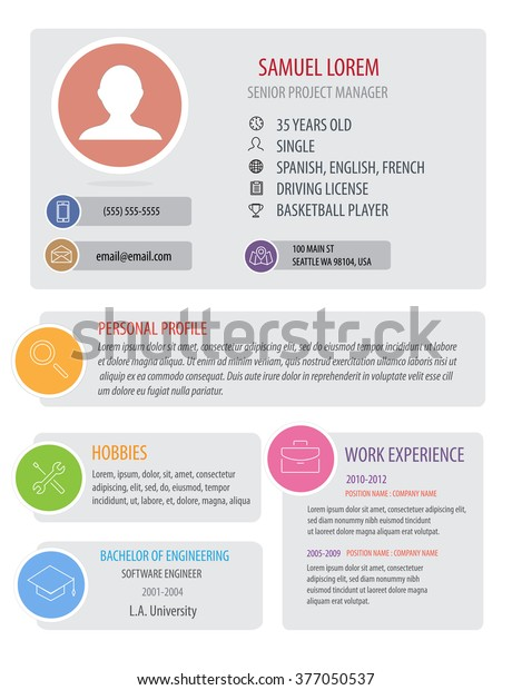 Perfect Resume Template Woman Light Color Stock Vector ...