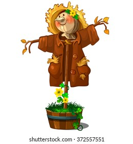 A perfect Scarecrow isolated on a white background. Cartoon vector close-up illustration.
