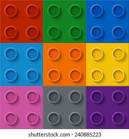 Perfect seamless vector pattern of children plastic parts. 9 colors.