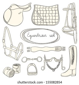 Perfect set of equestrian objects - collection of saddle, saddle pad, bridle and other horse things. Equestrian set with everything a horse needs.