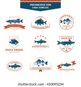 Perfect set of fish logos. Freshwater fish badges, labels and design elements. Can be used for restaurants, menu design, internet pages design, in the fishing industry, commercial