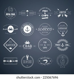 Perfect set of seafood logos. Grill, crab, lobster, restaurant logo collection made in vector. Seafood badges, labels and design elements.