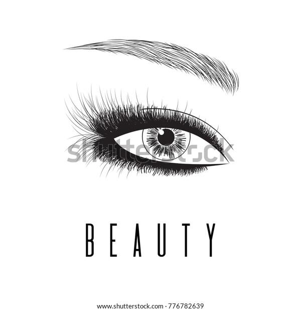 Perfect Shape Eyebrows Eyelash Extension Eyebrow Stock Vector ...