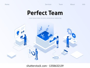 Perfect Team Service Metaphor Isometric Banner. Employee Searching, Brainstorming, Calculating Benefit in Working Process. Concept Seo Business Vector Illustration. Landing Page with Perfect Workplace