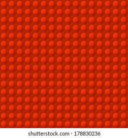 Perfect vector background of closeup plastic construction block. Red