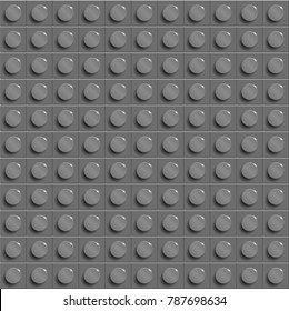 Perfect vector background of closeup plastic gloss construction block. Grey.  Grey plastic construction plate. 3d vector background from building bricks. Grey lego  background