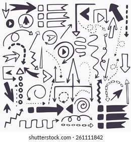Perfect vector hand drawn arrows. Beautiful fully editable elements for your design.
