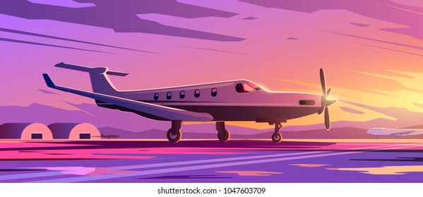 Perfect vector Illustration on the theme of travel by airplane, private airlines, transportation. A standing plane. Sunset. #2