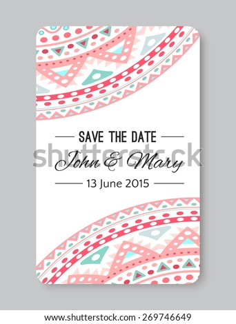 Perfect Wedding Template Doodles Tribal Theme Stock Vector Royalty